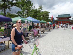 Kyoto biking market place bike fietsen tempel