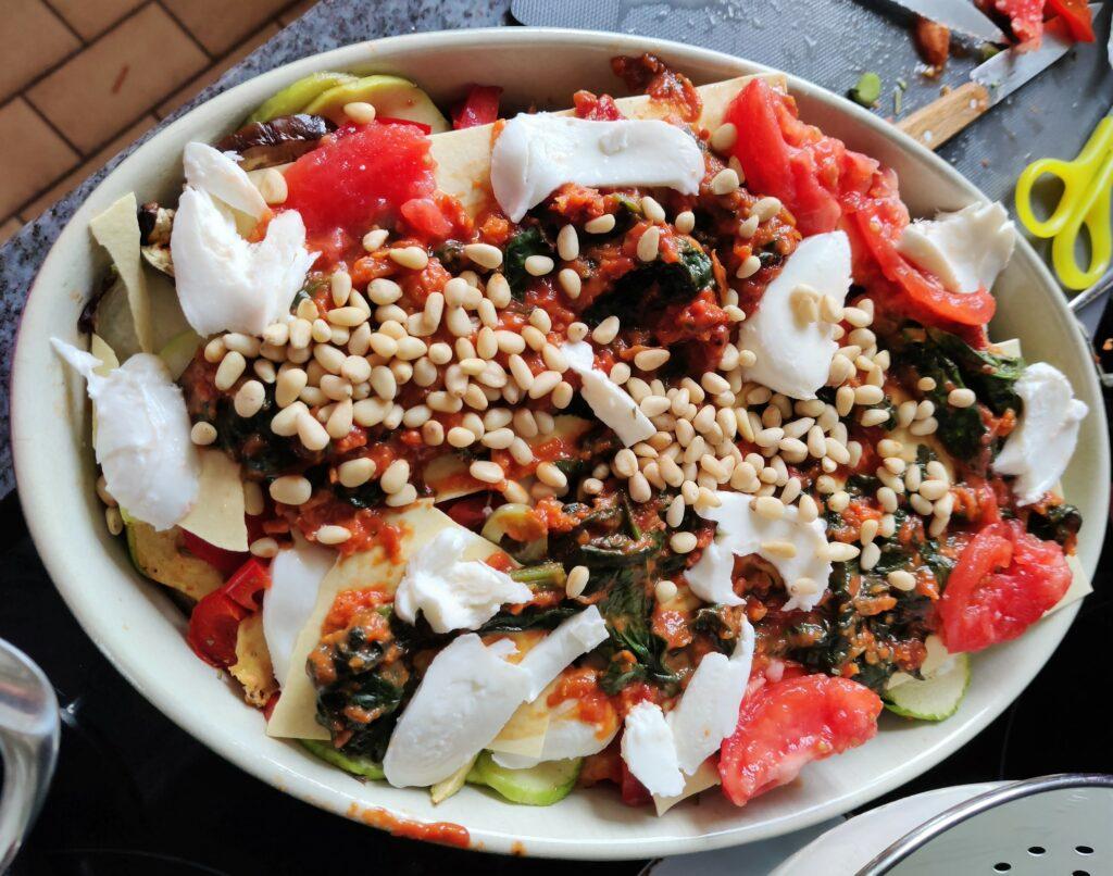 vegetarische groentelasagne feta olijven aubergine courgette paprika