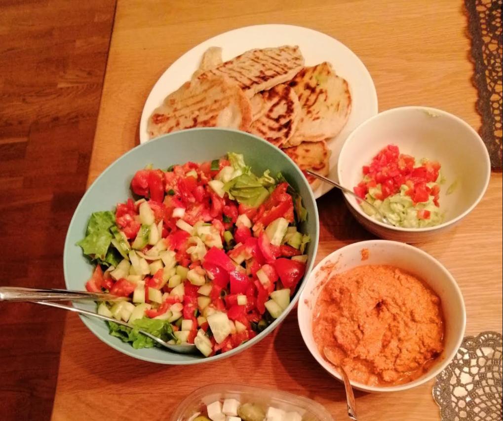 homemade flatbread muhammara